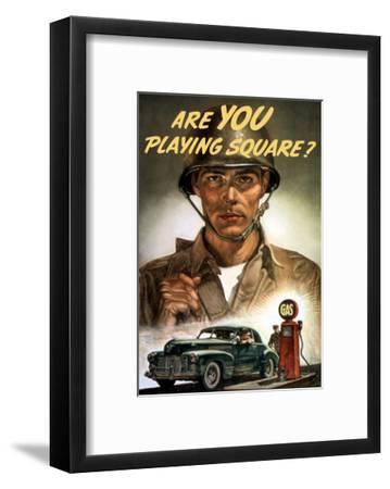 World War II Propaganda Poster of a Soldier Overlooking a Man at the Gas Pump