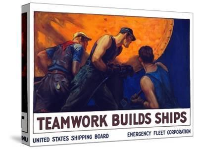 World War II Propaganda Poster of a Team of Men Riveting the Hull of a Ship