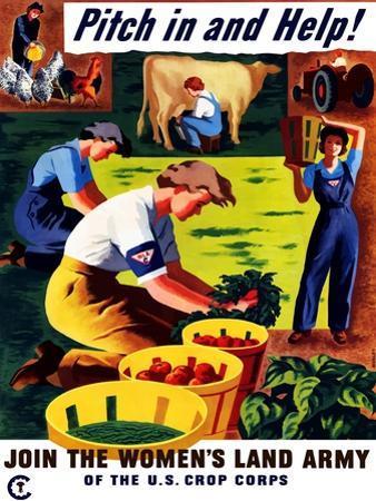 World War II Propaganda Poster of Women Doing Chores on a Farm