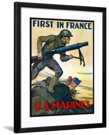 World War One Poster of Marines Charging Into Battle Behind the American Flag-Stocktrek Images-Framed Photographic Print
