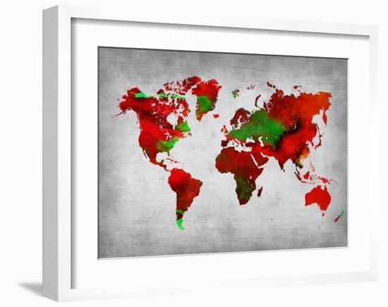 World Watercolor Map 11-NaxArt-Framed Art Print