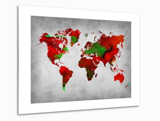 World Watercolor Map 11-NaxArt-Metal Print