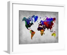 World Watercolor Map 12-NaxArt-Framed Art Print