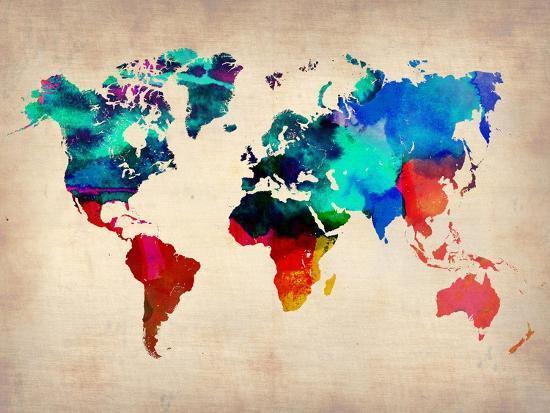 World Watercolor Map 1-NaxArt-Premium Giclee Print