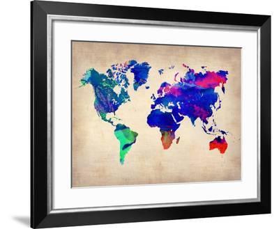 World Watercolor Map 2-NaxArt-Framed Art Print