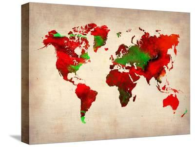 World Watercolor Map 4-NaxArt-Stretched Canvas Print