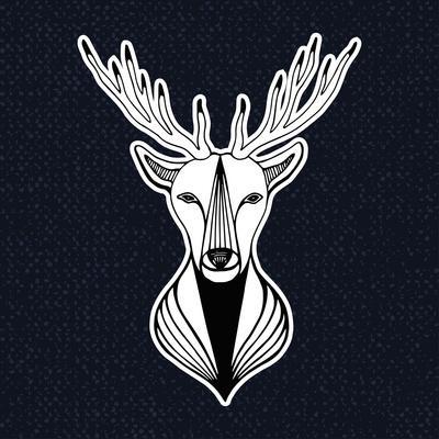 Artwork with Deer Head. Hipster Print, Sticker or Element for Design. Vector Line Art Hipster Illus