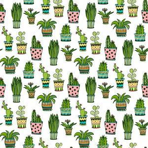 Succulent and Cactus Seamless Pattern. Colorful Doodle Flowers in Pots. Vector Background. by worldion
