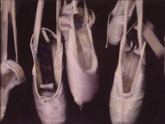 Worn Ballet Shoes Hanging in a Window-Jim Kelly-Premium Photographic Print