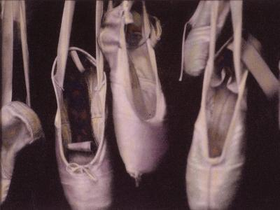 Worn Ballet Shoes Hanging in a Window-Jim Kelly-Photographic Print
