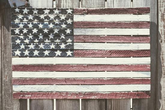 Worn Wooden American Flag, Fire Island, New York-Julien McRoberts-Photographic Print