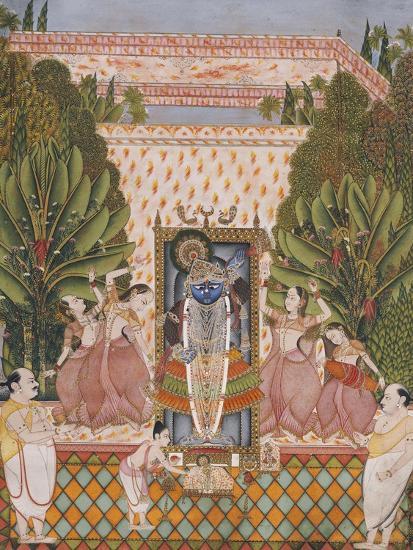 Worship of Shri Nathji, Probably Bundi or Kotah, circa 1825-50--Giclee Print