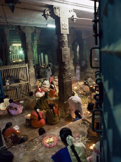 Worshippers at a Shrine Inside the Sri Meenakshi Temple, Madurai, Tamil Nadu State, India-Richard Ashworth-Photographic Print