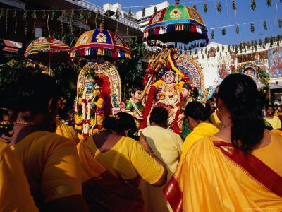 Worshippers at the Hindu Deepavali Festival in the Sri Mariamman Temple, Singapore, Singapore-Michael Coyne-Photographic Print