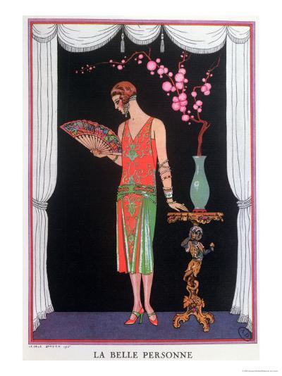 Worth Evening Dress, Fashion Plate from Gazette Du Bon Ton, 1925-Georges Barbier-Giclee Print
