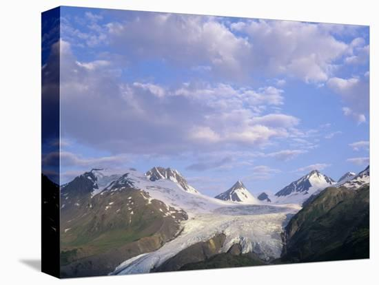 Worthington Glacier and Chugach Mountains, Thompson Pass Near Valdez, Alaska, USA-Adam Jones-Stretched Canvas Print