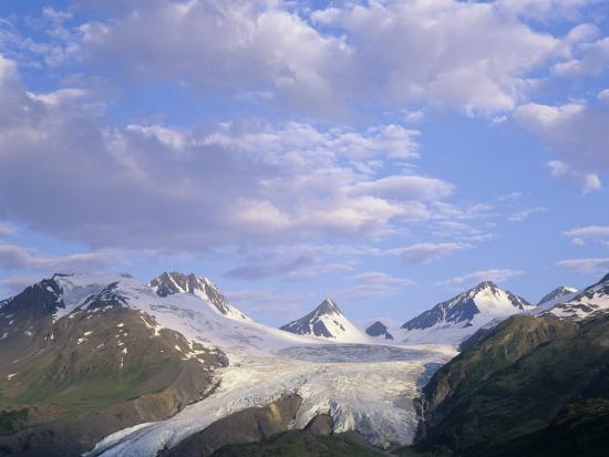 Worthington Glacier and Chugach Mountains, Thompson Pass Near Valdez, Alaska, USA-Adam Jones-Photographic Print