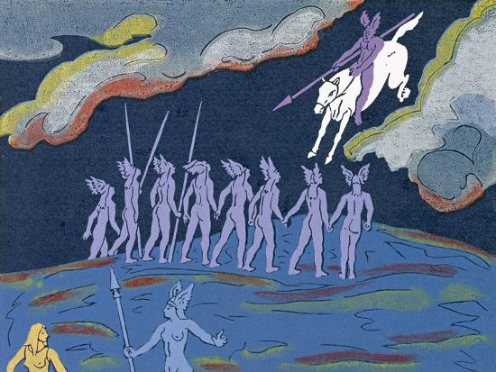 Wotan Arrives in Pursuit, Brunnhilde Sends Sieglinde to Safety: Illustration for 'Die Walkure'-Phil Redford-Giclee Print