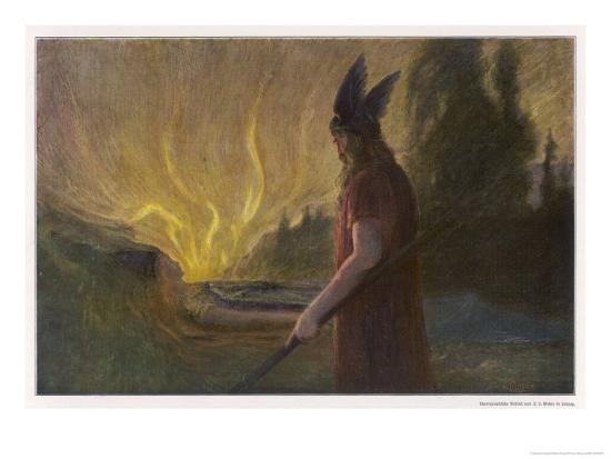Wotans Abschied Wotan's Farewell to Brunnhilde-Hermann Hendrich-Giclee Print