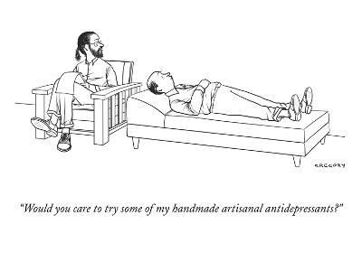 """Would you care to try some of my handmade artisanal antidepressants?"" - New Yorker Cartoon-Alex Gregory-Premium Giclee Print"