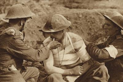 Wounded But Not Too Ill for a Smoke, World War I--Photographic Print