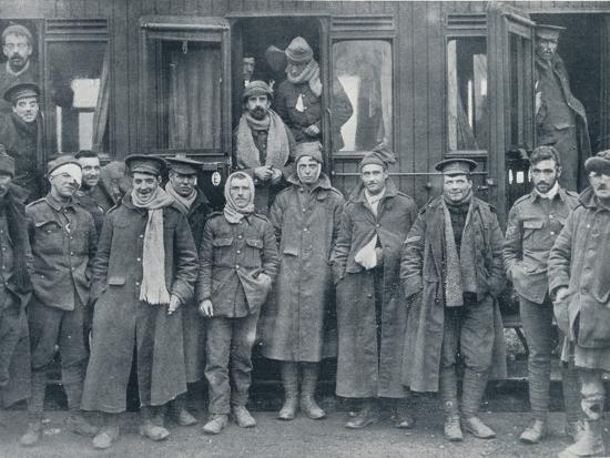 Wounded English troops on their way to a base hospital, c1914-Unknown-Photographic Print
