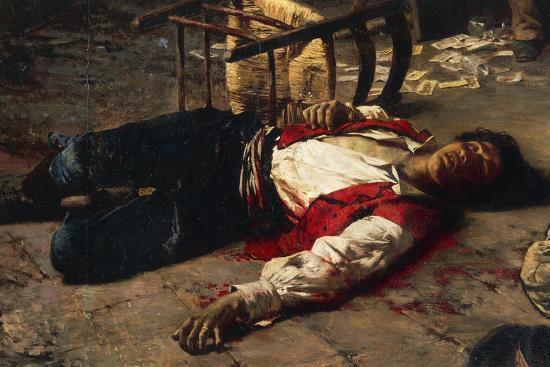 Wounded on the Ground, 1889-Michele Cammarano-Giclee Print