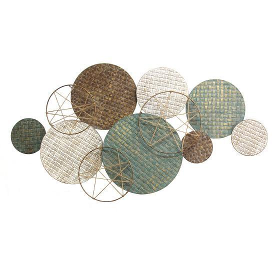 Woven Texture Metal Plates with Jute Accents--Alternative Wall Decor