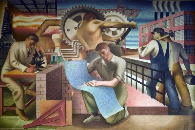 Wpa Mural. Mural by Charles Klauder Ca, 1940. Located in the Cohen Building Washington D.C--Art Print