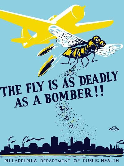 Wpa Propaganda Poster of a Bomber Plane and a Fly Dropping Germs--Art Print