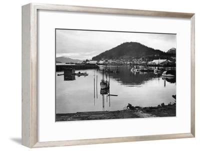 Wrangell, Alaska Town View of Fishing Boats Photograph - Wrangell, AK-Lantern Press-Framed Art Print