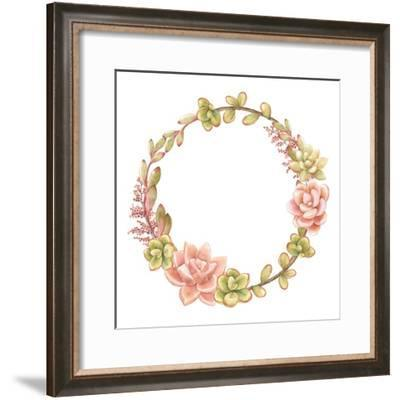 Wreath of Succulents, Vector Watercolor Illustration.-Nikiparonak-Framed Premium Giclee Print
