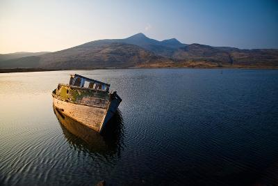 Wreck of Old Wooden Boat, Loch Scridain, Isle of Mull with Ben More-Doug Horrigan-Photographic Print