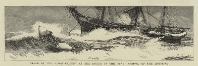 Wreck of the Iron Crown at the Mouth of the Tyne, Arrival of the Life-Boat-William Lionel Wyllie-Giclee Print