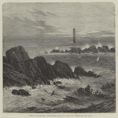 Wreck of the Schiller, the Retarrier Ledges and Bishop Rock Lighthouse, Scilly Isles--Giclee Print