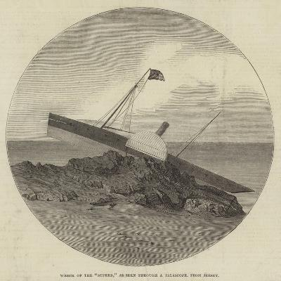 Wreck of the Superb, as Seen Through a Telescope, from Jersey--Giclee Print