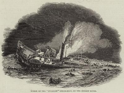 Wreck of the Swallow Steam-Boat, on the Hudson River--Giclee Print