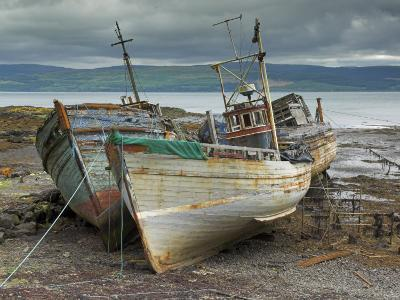 Wrecked Fishing Boats in Gathering Storm, Salen, Isle of Mull, Inner Hebrides, Scotland, UK-Neale Clarke-Photographic Print