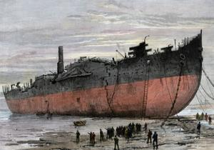 """Wrecked Hull of the Steamship """"Great Eastern"""" at New Ferry, England, 1889"""