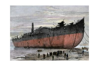 """Wrecked Hull of the Steamship """"Great Eastern"""" at New Ferry, England, 1889--Photographic Print"""