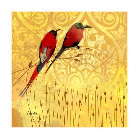 Wren on Yellow II-Evelia Designs-Art Print