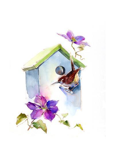 Wren with Birdhouse and Clematis, 2016-John Keeling-Giclee Print