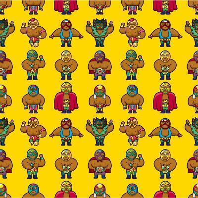Wrestler Pattern-notkoo-Art Print