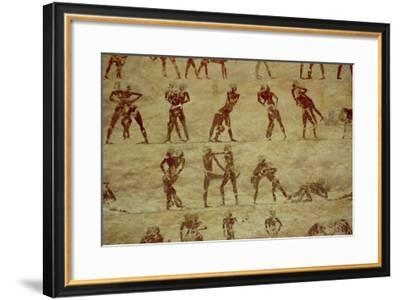 Wrestlers, Detail from a Tomb Wall Painting, Egyptian, Old to Middle Kingdom--Framed Giclee Print