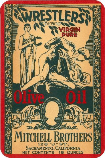 Wrestlers Olive Oil Label--Art Print