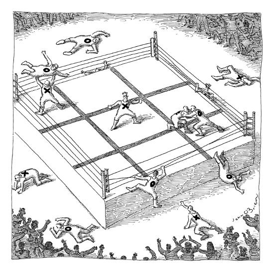 "Wrestlers wearing bodysuits with ""X"" or ""O"" fight on an elevated platform ? - New Yorker Cartoon-John O'brien-Premium Giclee Print"
