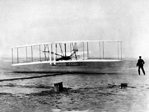 """Wright Brothers Wilbur and Orville with 1903 Airplane """"Kitty Hawk"""" on First Flight"""