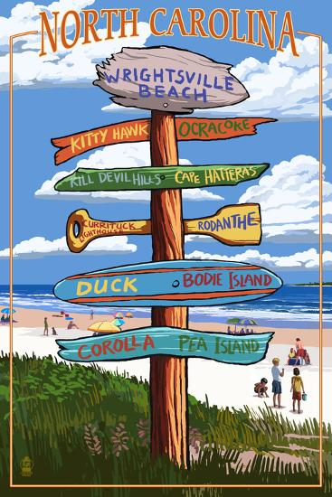 Wrightsville Beach, North Carolina - Destination Signpost-Lantern Press-Wall Mural