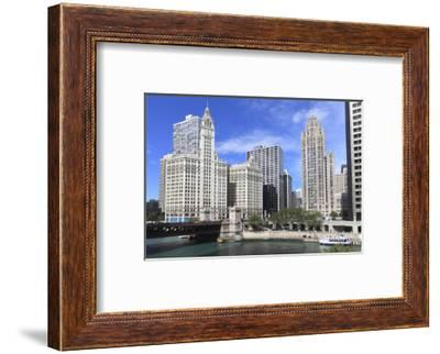 Wrigley Building and Tribune Tower, across Chicago River to N Michigan Ave, Chicago, Illinois, USA-Amanda Hall-Framed Photographic Print