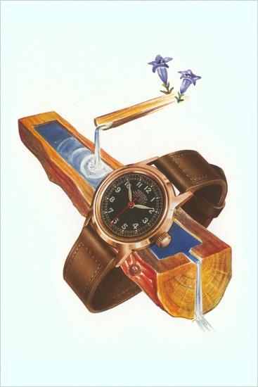 Wristwatch on Wooden Trough--Art Print